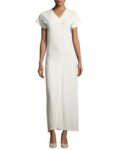 V-Neck Satin Maxi Dress, Ivory