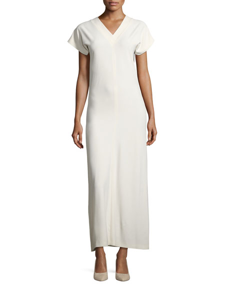 V-Neck Satin Maxi Dress, Ivory