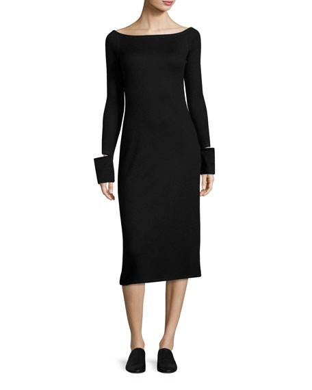 Helmut Lang Bateau-Neck Split-Off Cuffs Fitted Midi Dress,