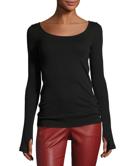 Helmut Lang Long-Sleeve Scoop-Neck Ballet Tee, Black