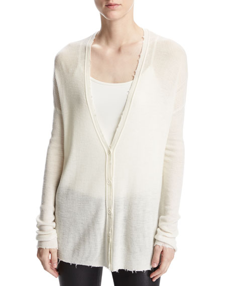 Helmut Lang Lightweight Frayed Wool Cardigan, White
