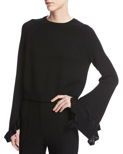 Cropped Bell-Sleeve Ruffle Pullover Sweater, Black