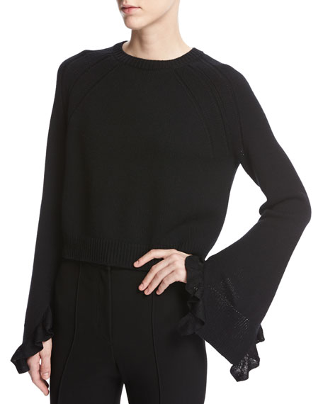 Helmut Lang Cropped Bell-Sleeve Ruffle Pullover Sweater, Black