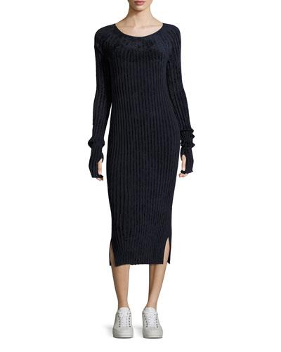 Velveteen Scoop-Neck Long-Sleeve Midi Dress, Navy