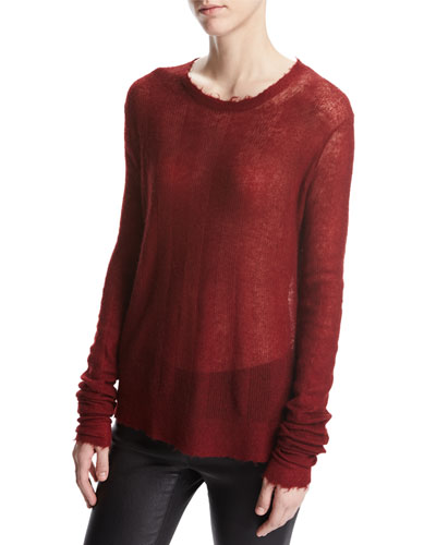 Stitch Stripe Sheer Pullover Sweater, Ruby