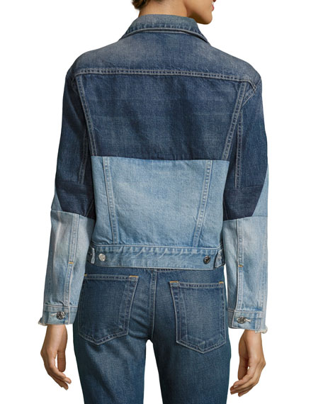 Patchwork Two-Tone Denim Jacket, Blue