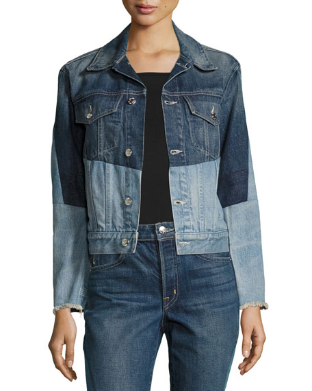 Helmut Lang Patchwork Two-Tone Denim Jacket, Blue