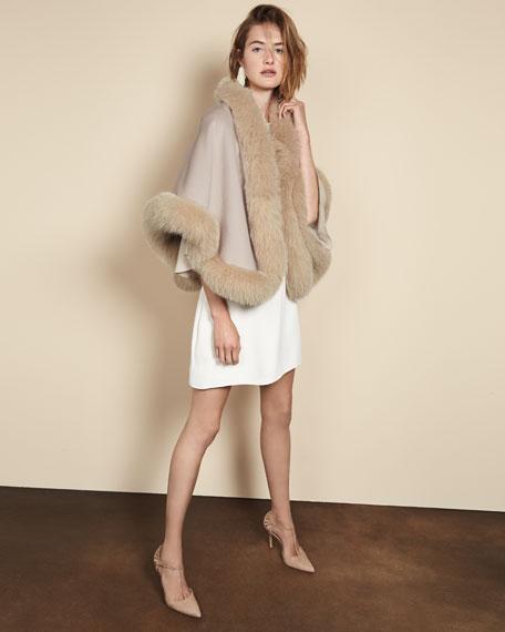 Luxury Double-Faced Cashmere Short Cape w/ Fox Fur Trim