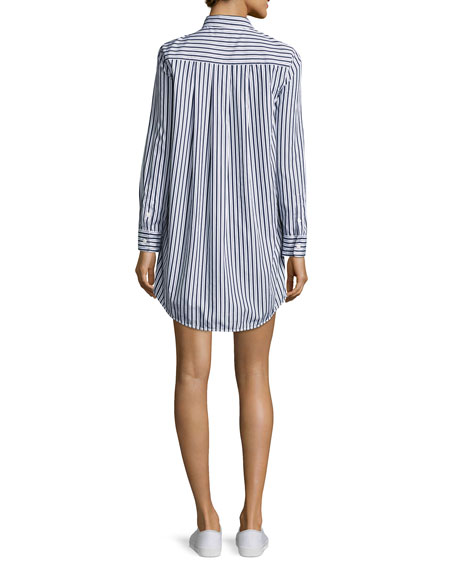 Carmine Striped Cotton Shirtdress, Multi Pattern