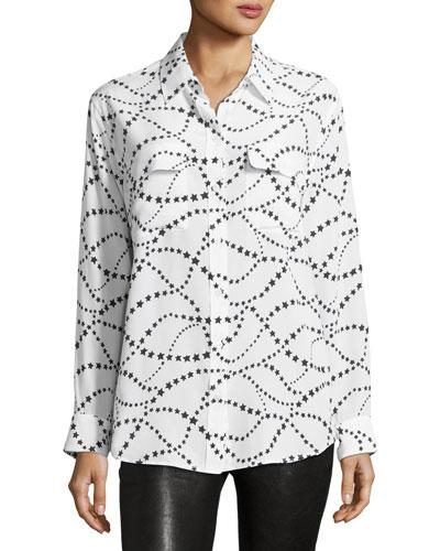 Star-Pattern Signature Silk Shirt, Multi Pattern