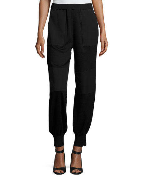 Misook Collection Paneled Jogger Pants, Black