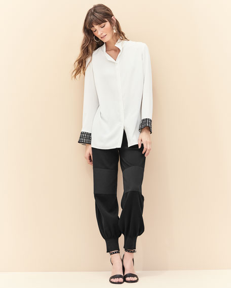 Silky Shirt w/ Knit Cuffs, White/Black