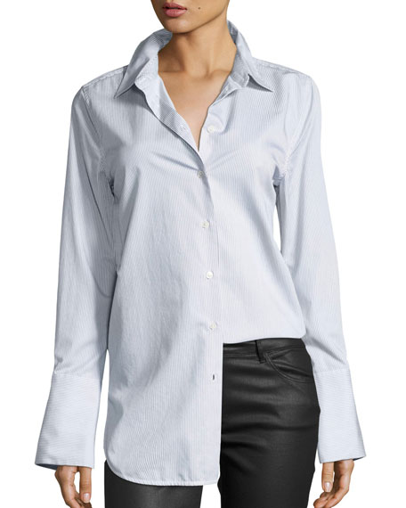 Equipment Arlette Narrow-Striped Poplin Shirt, Multi Pattern