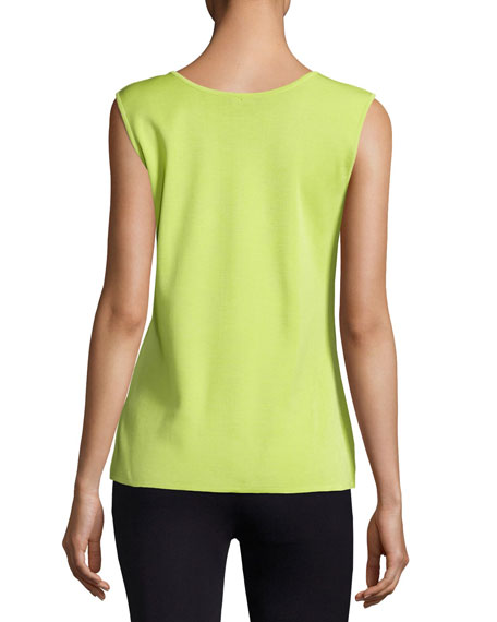 Scoop-Neck Knit Tank, Chartreuse