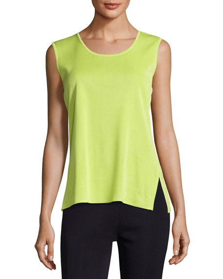 Misook Scoop-Neck Knit Tank, Chartreuse