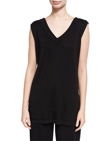 Silk-Blend V-Neck Tank, Black