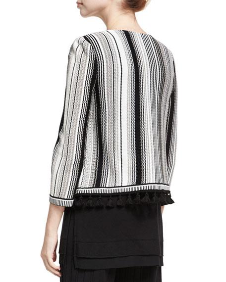 Striped Open-Front Tasseled Jacket