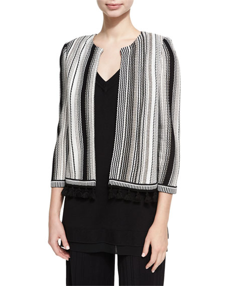 Striped Open-Front Tasseled Jacket