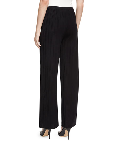 Vertical Lines Wide-Leg Pants