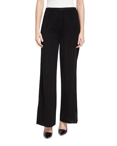 Vertical Lines Wide-Leg Pants