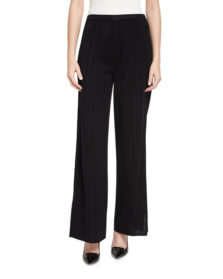 Misook Collection Vertical Lines Wide-Leg Pants