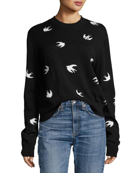 McQ Alexander McQueen All Over Swallow Crewneck Sweatshirt,