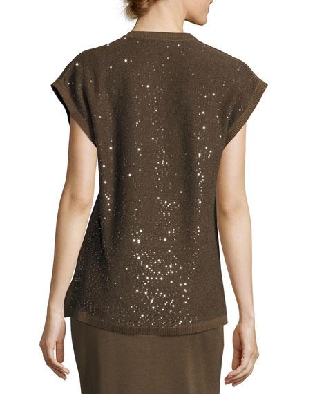 Cap-Sleeve V-Neck Sequined Knit Tunic, Hazel/Black, Plus Size