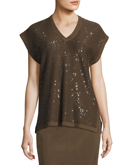 Cap-Sleeve V-Neck Sequined Knit Tunic, Hazel/Black