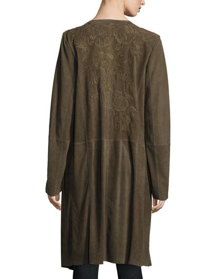 Antonia Suede Long Coat, Olive