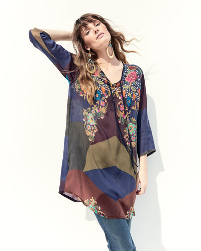 Ludios Tie-Front Georgette Tunic