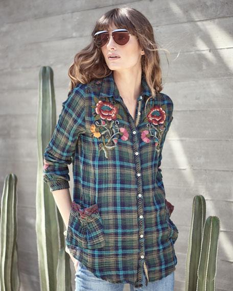 Bonnie Jasmine Plaid Embroidered Shirt, Multicolor, Petite