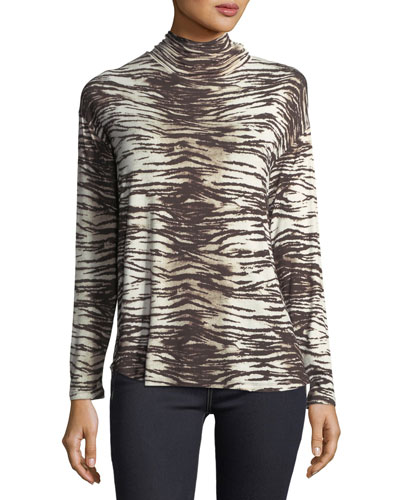 Tiger-Print Turtleneck