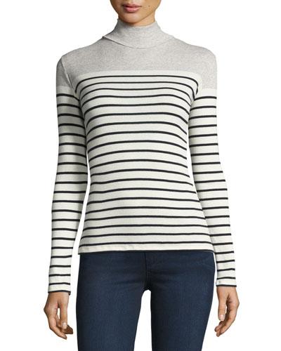 Striped Cotton Turtleneck