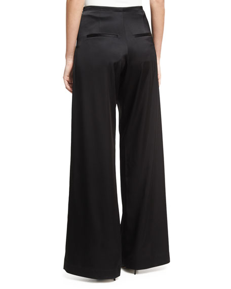 Wide-Leg Casual Sateen Pants, Black