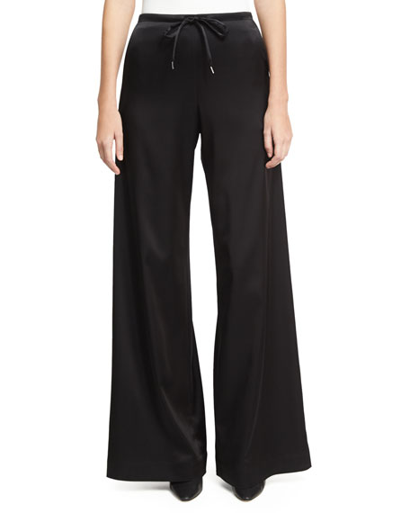 McQ Alexander McQueen Wide-Leg Casual Sateen Pants, Black