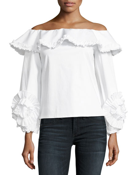 Alexis Regine Off-the-Shoulder Ruffled Top, White