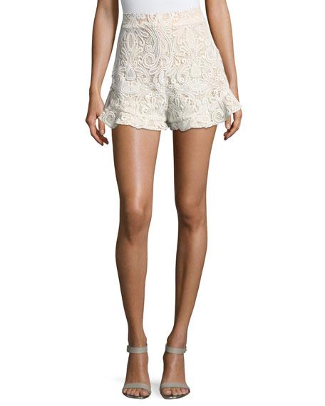 Alexis Barron Lace High-Waist Shorts