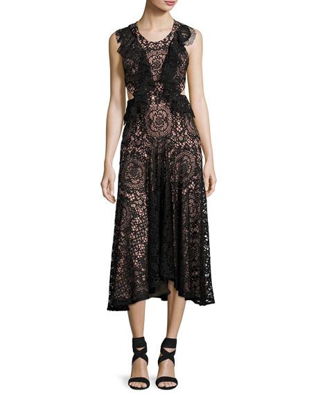 Alexis Aldridge Lace Midi Dress, Black