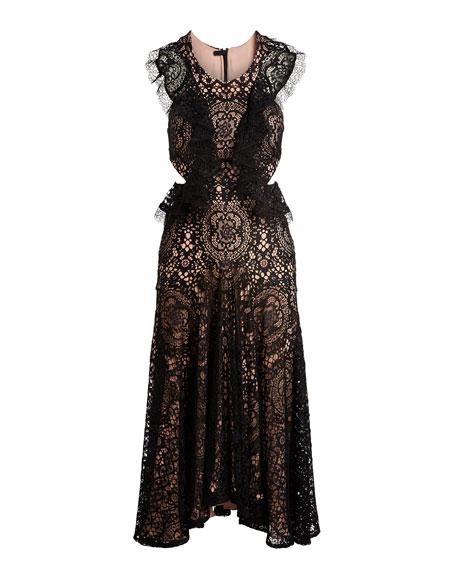 Aldridge Lace Midi Dress, Black