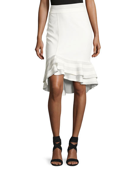 Alexis Cynda Ruffled Peplum Skirt, White and Matching