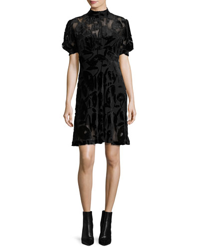Short-Sleeve Gathered Velvet Mini Dress, Black