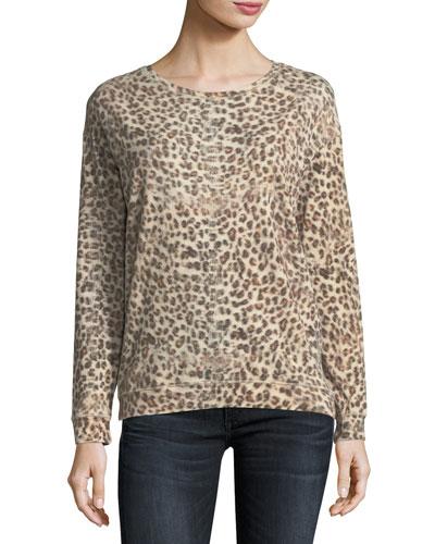 Leopard-Print Cotton/Cashmere Crewneck Sweatshirt