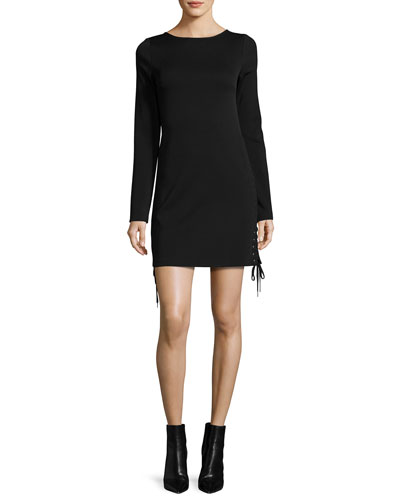 Long-Sleeve Lace-Up Mini Dress, Black