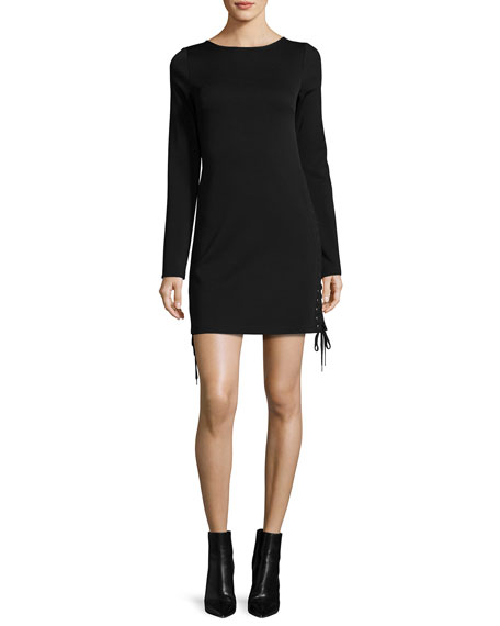 McQ Alexander McQueen Long-Sleeve Lace-Up Mini Dress, Black