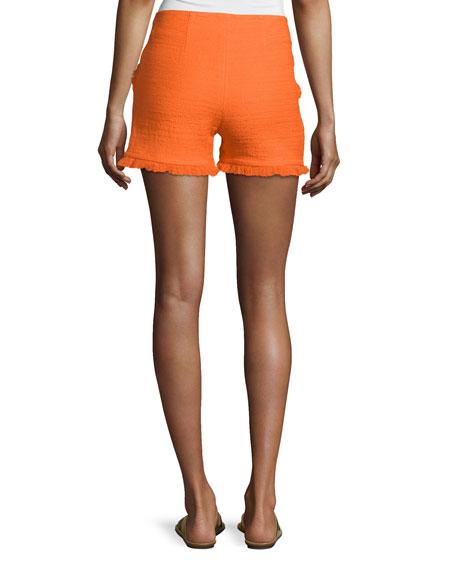 Kleo Textured Ruffle Shorts, Caliente