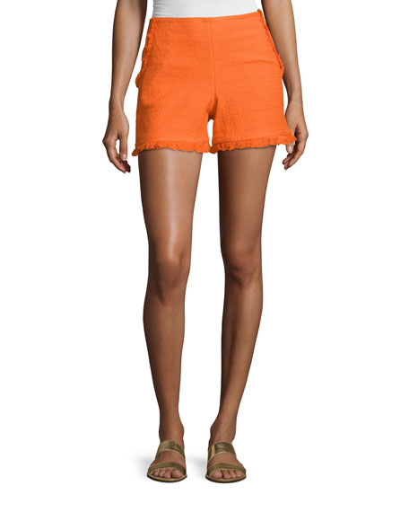 Trina Turk Kleo Textured Ruffle Shorts, Caliente and