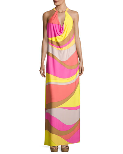 Tranquility Sleeveless Abstract Jersey Maxi Dress, Multicolor