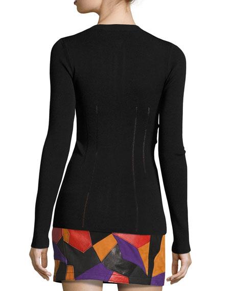 Body-Con Slit-Sleeve Zip-Front Top, Black
