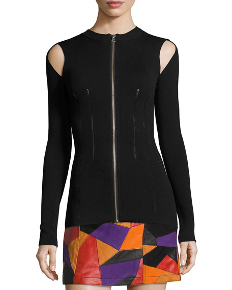 McQ Alexander McQueen Body-Con Slit-Sleeve Zip-Front Top, Black