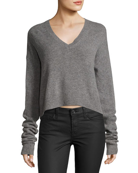 McQ Alexander McQueen Cutout-Back V Neck Sweater, Gray